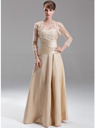 Taffeta Sleeveless A-Line/Princess Bridesmaid Dresses Sweetheart Ruffle Beading Appliques Lace Floor-Length