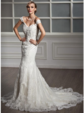 Trumpet/Mermaid Off-the-Shoulder Chapel Train Tulle Wedding Dress With Lace Beading
