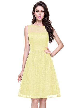 Lace Sleeveless A-Line/Princess Bridesmaid Dresses Scoop Neck Knee-Length