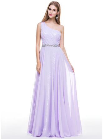 Chiffon Sequined Sleeveless A-Line/Princess Prom Dresses One-Shoulder Ruffle Beading Floor-Length