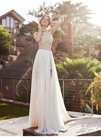 A-Line/Princess Halter Sweep Train Wedding Dresses With Lace