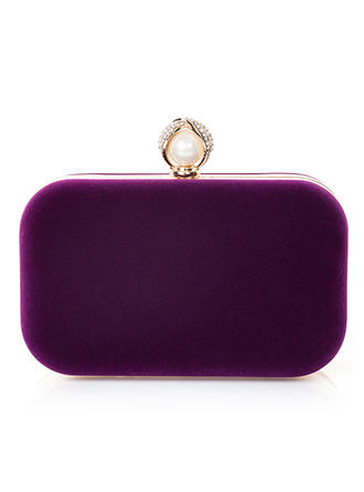 Clutches Wedding/Ceremony & Party Velvet/Imitation Pearl Clip Closure Attractive Clutches & Evening Bags