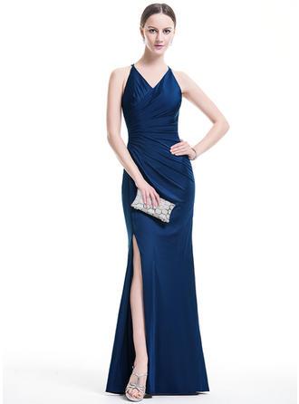 Glamour Jersey Robes de soirée Forme Sirène/Trompette Longueur ras du sol Col V Sans manches