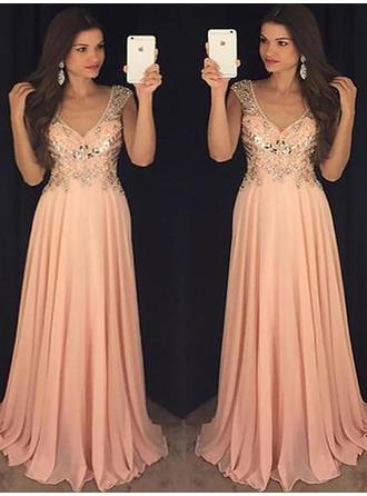 Fashion Chiffon Evening Dresses A-Line/Princess Floor-Length V-neck Sleeveless (017217143)