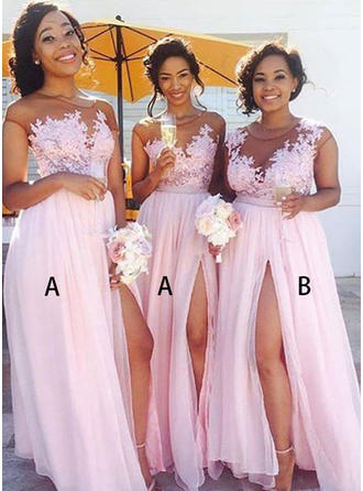 A-Line/Princess Scoop Neck Floor-Length Chiffon Lace Bridesmaid Dresses With Split Front