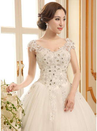 Ball-Gown Scoop Floor-Length Wedding Dress With Lace Beading Appliques Lace Sequins