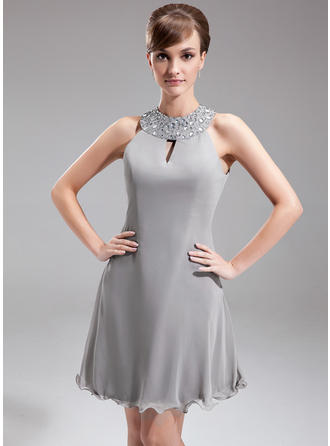 A-Line/Princess Chiffon Sleeveless Halter Knee-Length Zipper Up Mother of the Bride Dresses