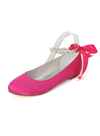 Women's Closed Toe Flats Flat Heel Satin With Imitation Pearl Wedding Shoes