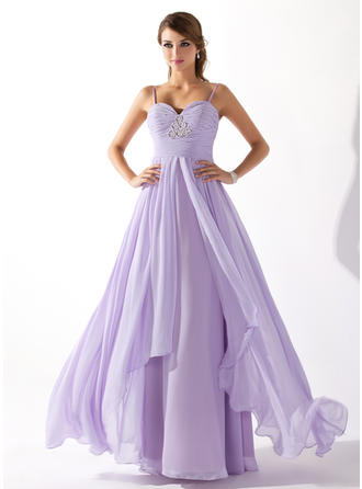 Simple Chiffon Prom Dresses A-Line/Princess Floor-Length Sweetheart Sleeveless