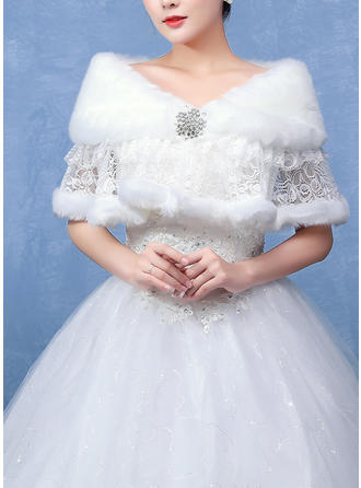 Shawl Wedding Faux Fur Ivory Wraps
