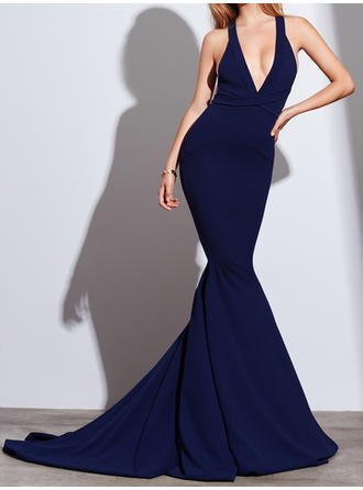 Simple Trumpet/Mermaid V-neck Stretch Crepe Evening Dresses Sleeveless