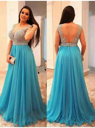 A-Line/Princess Chiffon Prom Dresses Beading V-neck Sleeveless Sweep Train