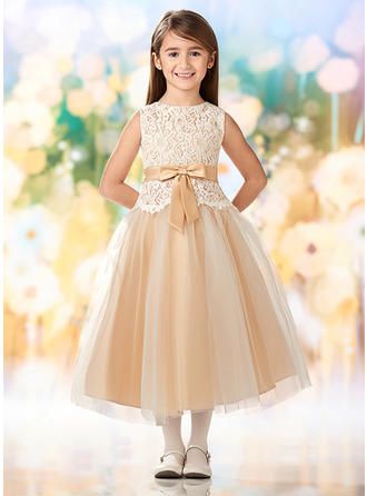 A-Line/Princess Scoop Neck Tea-length Tulle/Lace Sleeveless Flower Girl Dresses (010216422)