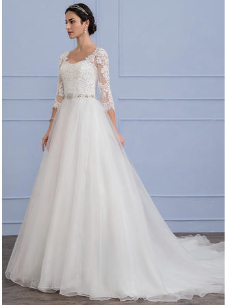 Beading Sequins A-Line/Princess - Organza Lace Wedding Dresses