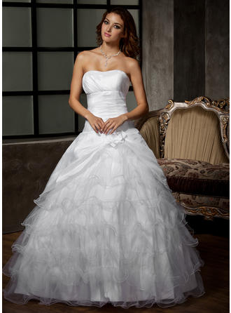 Luxurious Floor-Length Ball-Gown Wedding Dresses Sweetheart Taffeta Tulle Sleeveless