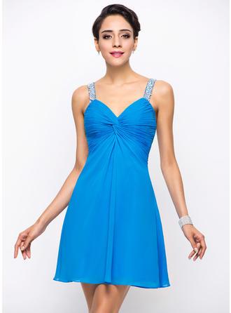 A-Line/Princess Sweetheart Chiffon Sleeveless Short/Mini Ruffle Beading Sequins Cocktail Dresses