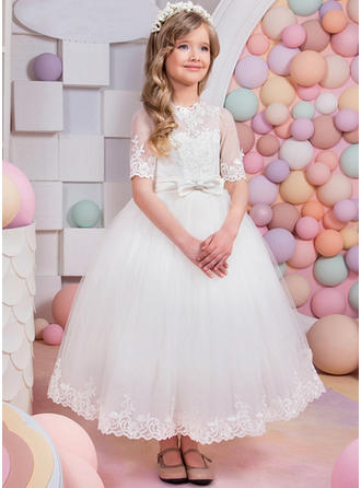 A-Line/Princess Scoop Neck Ankle-length With Sash Satin/Tulle Flower Girl Dresses