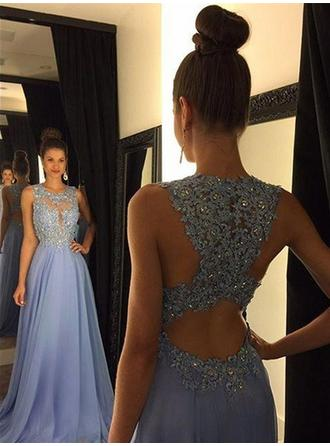 A-Line/Princess Scoop Neck Sweep Train Prom Dresses With Beading Sequins