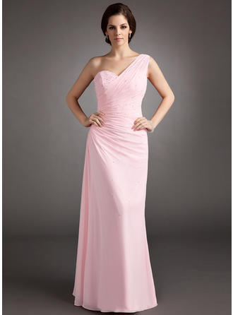 Chiffon Sleeveless A-Line/Princess Prom Dresses One-Shoulder Ruffle Beading Sequins Floor-Length