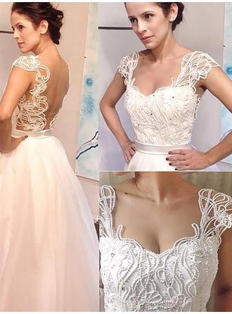 Stunning Sweep Train A-Line/Princess Wedding Dresses Sweetheart Tulle Sleeveless