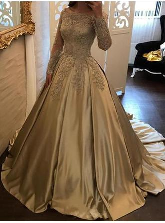 Ball-Gown Off-the-Shoulder Satin Long Sleeves Sweep Train Appliques Lace Evening Dresses