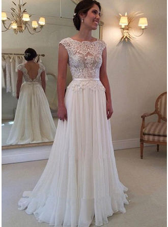 A-Line/Princess Chiffon Sleeveless Square Sweep Train Wedding Dresses