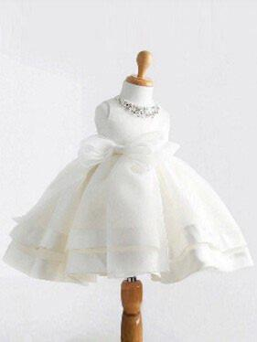 Scoop Neck Ball Gown Flower Girl Dresses Satin/Tulle Beading/Bow(s) Sleeveless Knee-length
