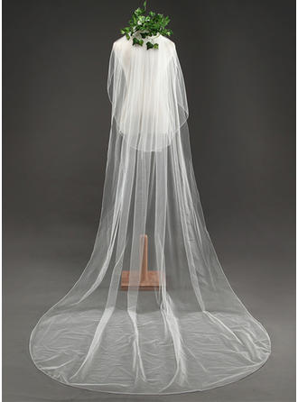 Cathedral Bridal Veils Tulle Two-tier Oval With Cut Edge Wedding Veils