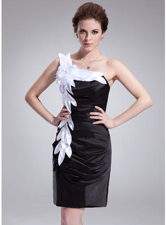 Sheath/Column One-Shoulder Knee-Length Charmeuse Cocktail Dresses With Ruffle Sash Flower(s)