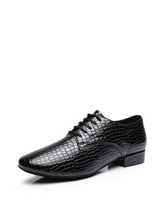 Men's Ballroom Flats Real Leather With Lace-up Dance Shoes