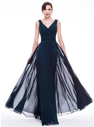 A-Line/Princess Chiffon Prom Dresses Ruffle V-neck Sleeveless Floor-Length