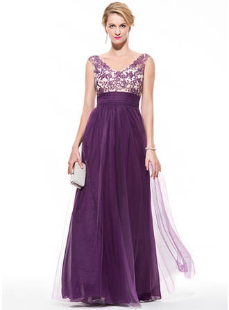 Tulle Sleeveless Empire Prom Dresses V-neck Ruffle Beading Appliques Lace Sequins Floor-Length