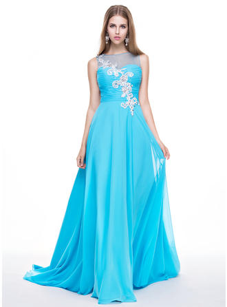 Chiffon Sleeveless A-Line/Princess Prom Dresses Scoop Neck Ruffle Beading Appliques Lace Sequins Sweep Train