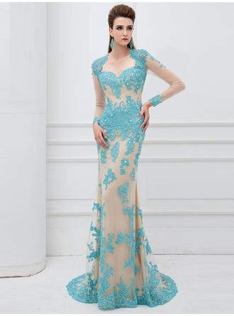 Sheath/Column Sweetheart Sweep Train Evening Dresses With Lace Beading