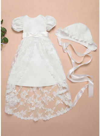 Satin Lace Scoop Neck Baby Girl's Christening Gowns With Short Sleeves