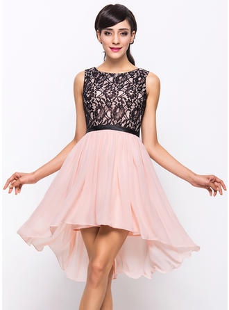 Sleeveless Scoop Neck Flattering Chiffon Lace A-Line/Princess Cocktail Dresses