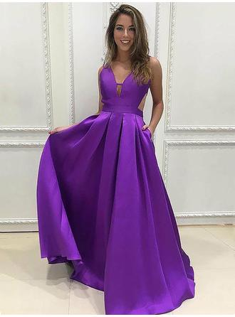 Simple Satin Evening Dresses A-Line/Princess Floor-Length V-neck Sleeveless