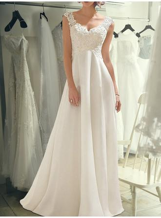 V-neck Empire Wedding Dresses Chiffon Lace Sleeveless Floor-Length