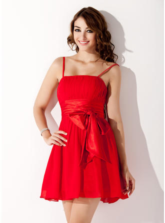 A-Line/Princess Short/Mini Homecoming Dresses Chiffon Sleeveless