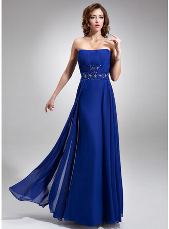Chiffon Sleeveless A-Line/Princess Bridesmaid Dresses Strapless Ruffle Beading Sequins Floor-Length