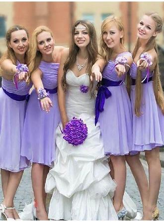 Chiffon Sleeveless A-Line/Princess Bridesmaid Dresses One-Shoulder Sash Knee-Length