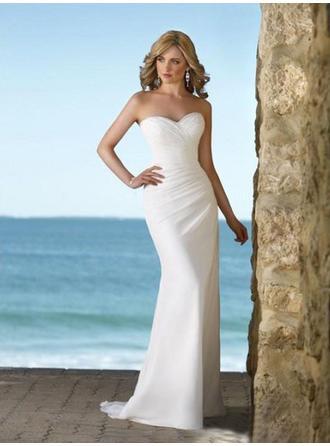 Sheath/Column Sweetheart Sweep Train Wedding Dresses With Ruffle
