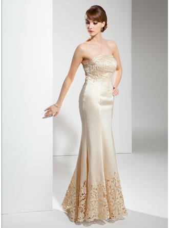 Satin Sleeveless Mother of the Bride Dresses Strapless Trumpet/Mermaid Lace Floor-Length