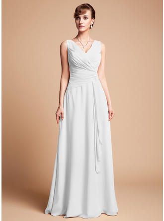 A-Line/Princess V-neck Chiffon Sleeveless Floor-Length Beading Cascading Ruffles Mother of the Bride Dresses (008211153)
