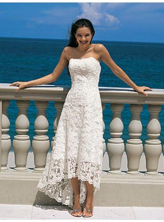 A-Line/Princess Strapless Asymmetrical Wedding Dress