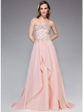 Chiffon Sleeveless A-Line/Princess Prom Dresses Sweetheart Beading Sequins Cascading Ruffles Sweep Train
