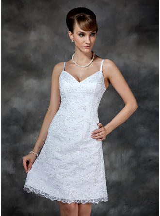 Beautiful Lace Wedding Dresses Sheath/Column Knee-Length Sweetheart Sleeveless