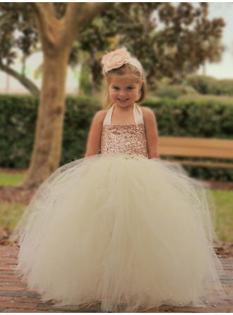 Ball Gown/A-Line/Princess Halter Floor-length Tulle/Sequined Sleeveless Flower Girl Dress