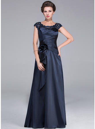 A-Line/Princess Scoop Neck Sweep Train Mother of the Bride Dresses With Ruffle Lace Beading Flower(s) Cascading Ruffles