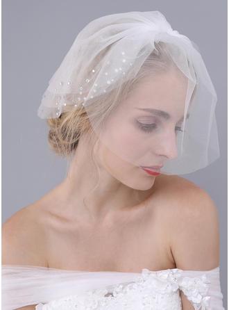 Rouge Schleier Tüll Klassische Art mit Schnittkante mit Strasssteine Brautschleier